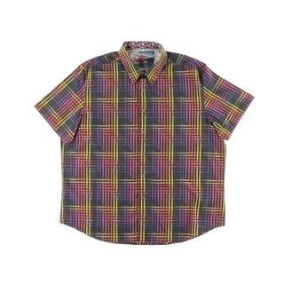 Robert Graham Mens Coral Reef Checkered Classic Fit Button-Down Shirt - 3XL