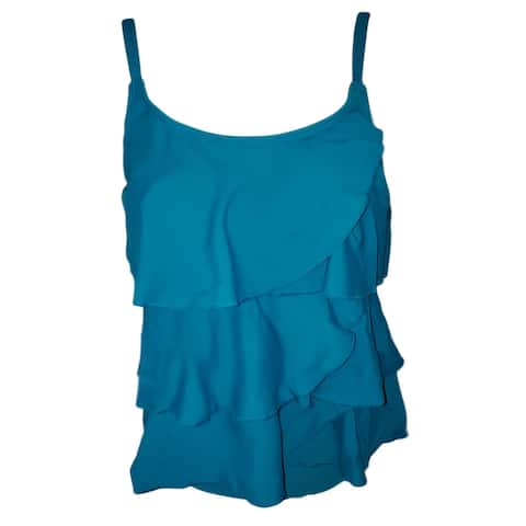 Blue Multi-Tiered Brief Tankini Swimsuit Women's