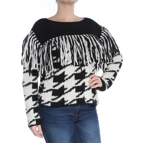 PHILOSOPHY Womens Black Fringed Printed Long Sleeve Jewel Neck Sweater Size: L