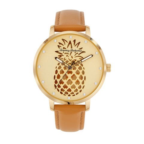 Tommy Bahama Women's Shaken Crystal Accent Pineapple Brown Leather Strap Watch