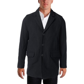 Perry Ellis Mens Pea Coat Single Brested Wool Blend