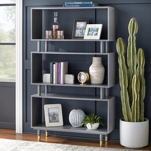 "Simple Living Margo Mid-Century 3-shelf Bookshelf - 59.5""h x 36""w x 11.8""d"