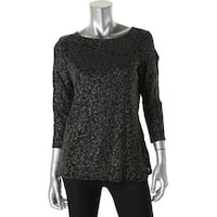 MSK Womens Pullover Top Glitter Print Layered Look