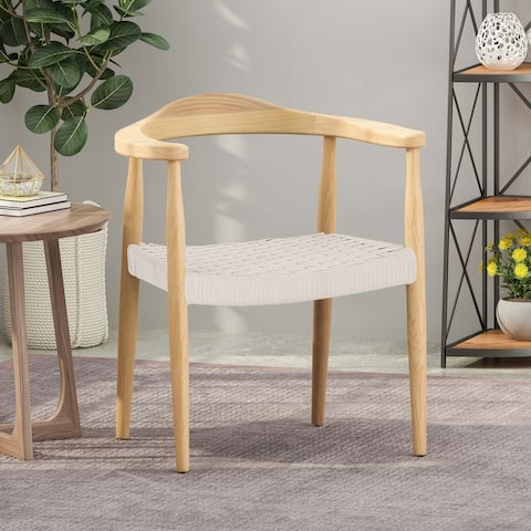 Palmyra Ash Wood Chair with Rope Seat by Christopher Knight Home