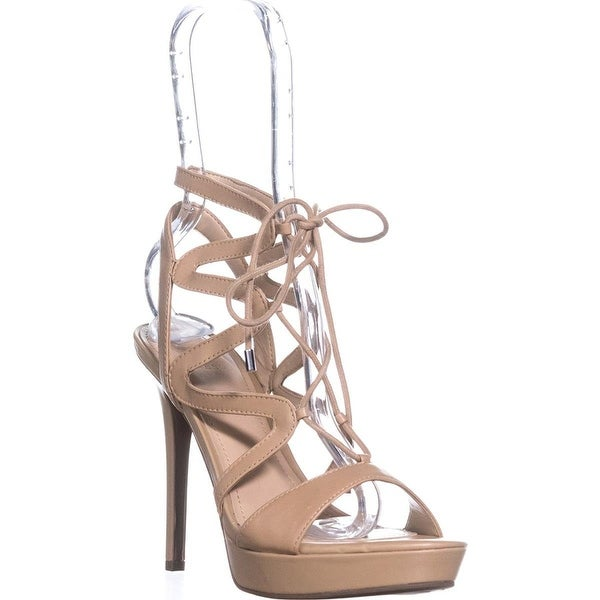GUESS Womens Aurela Leather Open Toe Casual Strappy Sandals