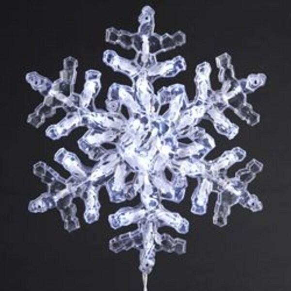 "12"" Lighted LED Polar White Clear Crystal Snowflake Christmas Window Decoration"