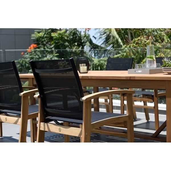 Life Style Garden 9 Piece Teak Finish Patio Dining Set Black Chairs Overstock 31027316