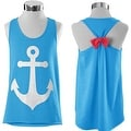 Anchor Print Womens Summer Casual Sleeveless Blouse Tank Tops T-Shirt Tee - Thumbnail 1