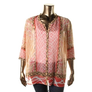 Nic + Zoe Womens Plus Chiffon Printed Button-Down Top