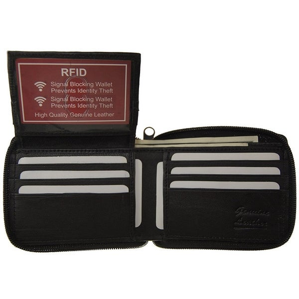 RFID Improving Lifestyles Mens Leather Wallet Bifold Zipper Black SUNRFID1306BK