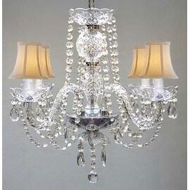 Swarovski Crystal Trimmed  Elegant Chandelier Lighting & White Shades
