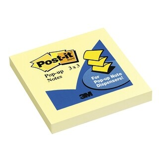 Post-it Pop-Up Original Notes, 3 x 3 Inches, Canary Yellow, 1 Pad with 100 Sheets