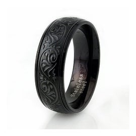 Black Stainless Steel Men's Floral Engraved Ring
