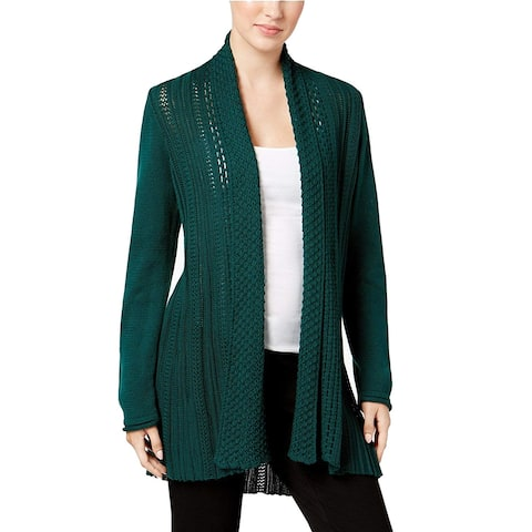 NY Collection Womens Sweater Green Size Large L Cardigan Open Front