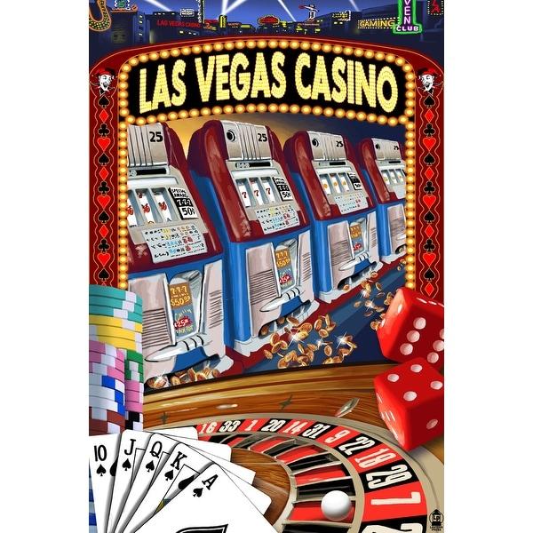 Las Vegas, NV - Casino Montage - LP Artwork (Acrylic Wall Clock)