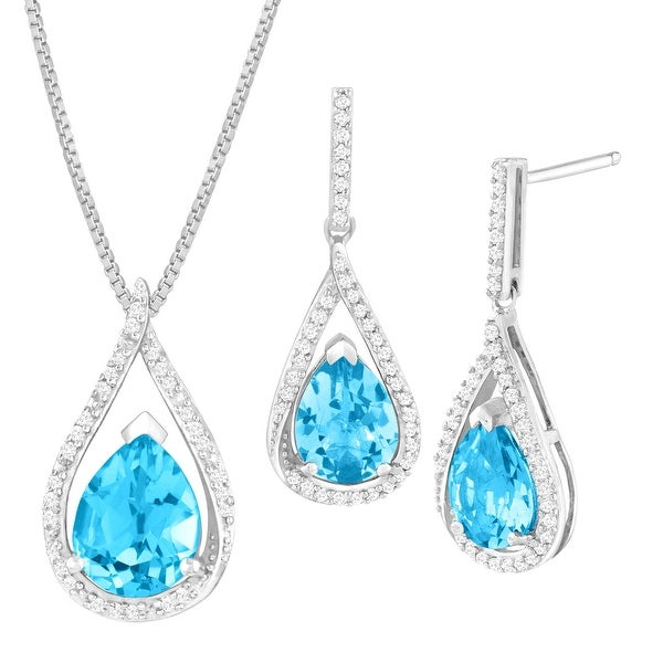 4 7/8 ct Natural Swiss Blue Topaz & 1/3 ct Diamond Earring & Pendant Set in Sterling Silver