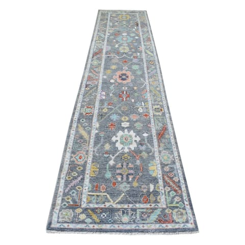 """Shahbanu Rugs Oushak with Colorful Motifs Charcoal Gray Extra Soft Wool Hand Knotted Oriental XL Runner Rug (2'10"""" x 14'0"""")"""