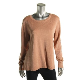 CeCe by Cynthia Steffe Womens Ribbed Trim Metallic Pullover Sweater - M