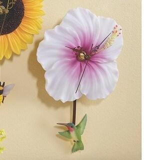 Flower Wall Clock - Hibiscus With Hummingbird Pendulum
