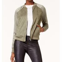 Kensie Olive Green Women's Size Large L Faux-Suede Bomber Jacket