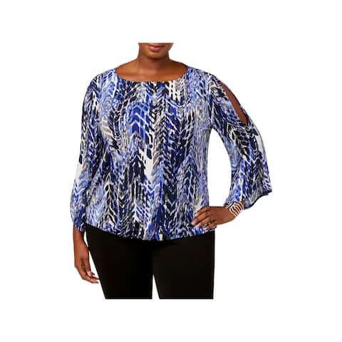 Kasper Womens Plus Pullover Top Cold Shoulder Printed
