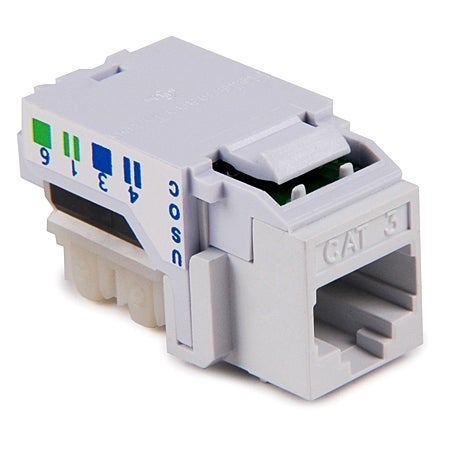 HellermannTyton - 8 POS Category 3 RJ45 Keystone Jack, Office White