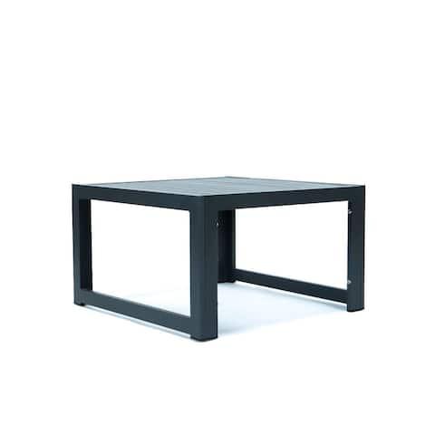 LeisureMod Chelsea Outdoor Aluminum Coffee Table in Black