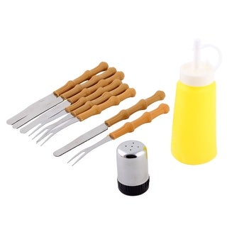 Plastic Handle Stainless Steel Outdoor Barbecue Utensil BBQ Tool Set 10 in 1