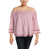 Lucky Brand Womens Plus Blouse Off The Shoulder Striped