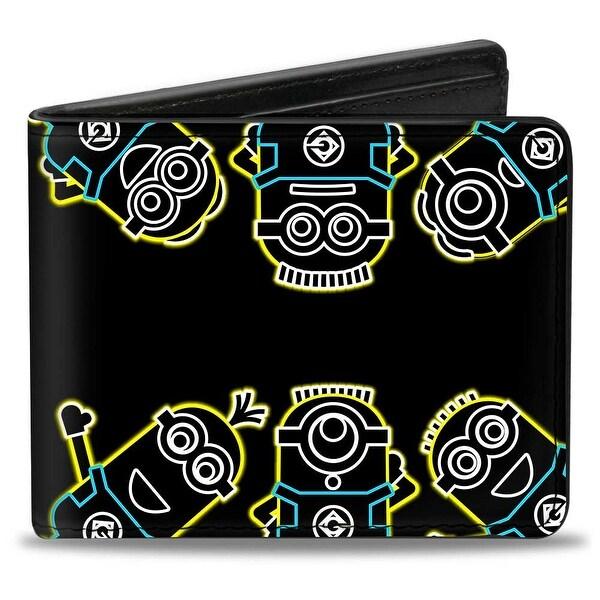 Electric Minions Pose + Minion Powered Black Yellow Blue White Bi Fold Wallet - One Size Fits most