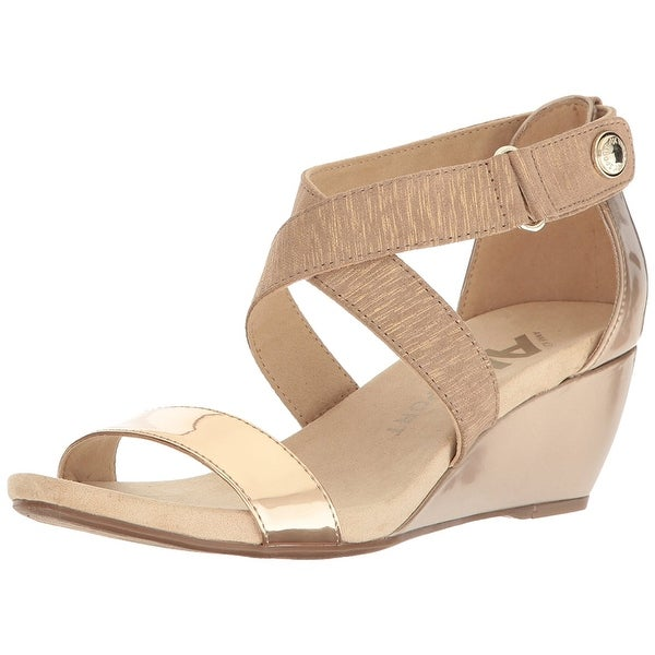 Anne Klein Womens Crisscross Open Toe Casual Platform Sandals