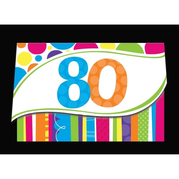 Shop Club Pack Of 48 Bright And Bold 80th Birthday Party Paper Invitations