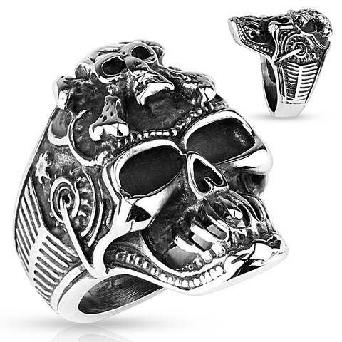 Skull with Crossbones Forehead and Steampunk Sides Stainless Steel Ring (Sold Ind.)