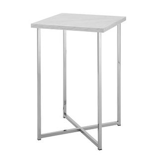 "Offex 16"" Square Side Table with White Marble Top and Chrome Legs"
