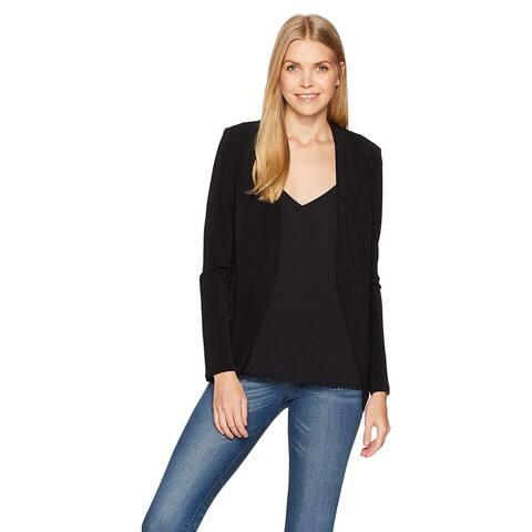 BCBGeneration Women's Zipper Front Knit Tuxedo Blazer, Black,, Black, Size Small