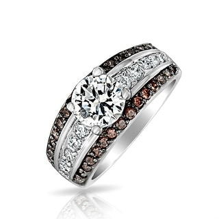 3CT Round Brilliant Cut AAA CZ Solitaire Engagement Ring Coffee Brown 3 Row Wide Pave Band Sterling Silver For Women