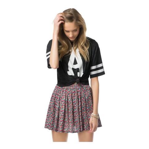 Aeropostale Womens Floral Skater Pleated Skirt, black, Medium