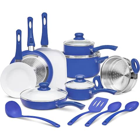 Ivation 16pc Healthy Ceramic Nonstick Cookware Set with Induction Compatible Base