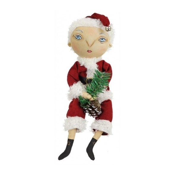 """13"""" Gathered Traditions """"Finn"""" Holiday Boy Decorative Christmas Figure with Dangling Legs"""