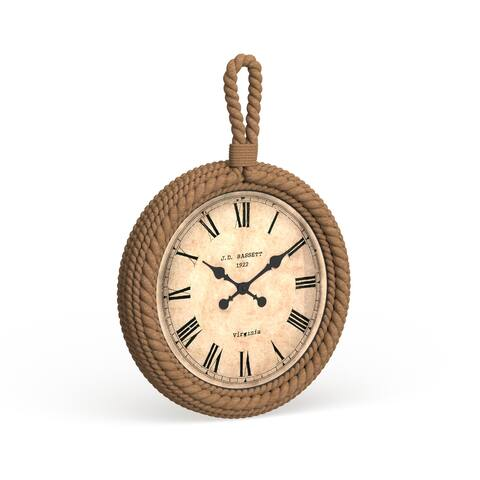The Curated Nomad Biltmore Antique Wood Rope Wall Clock