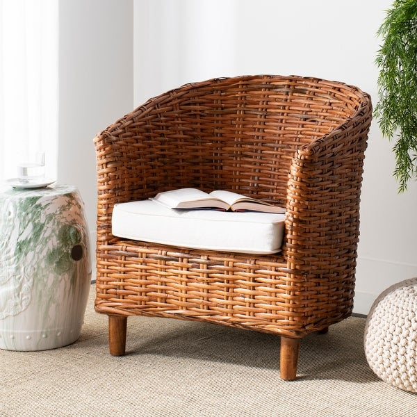"Safavieh Omni Rattan Barrel Chair with Cushion - 29.1"" x 27.2"" x 32.7"". Opens flyout."