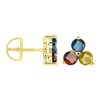 Prism Jewel 0.33Ct Multi Color Natural Diamond 3-Stone Stud Earring