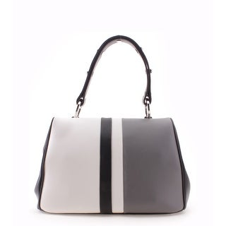 Prada Striped Pattern Studded Strap Calf Baiadera Leather Shoulder Handbag - Grey - M