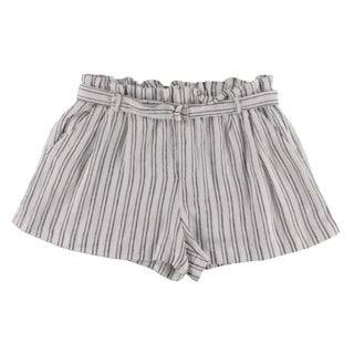 Aqua Womens Shorts Linen Striped (Option: Ivory/Navy - L)