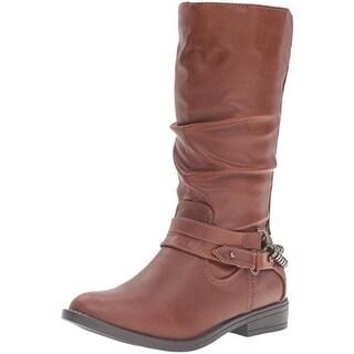 Rampage Girls Karen Riding Boots Belted Faux Leather - 12 medium (b,m)