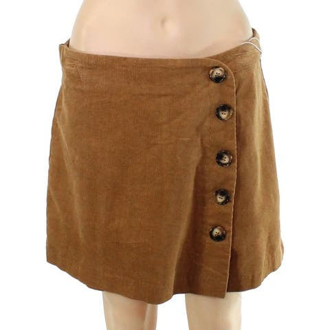 Fashion On Earth Brown Size Large L Junior Skorts Button Front Corduroy