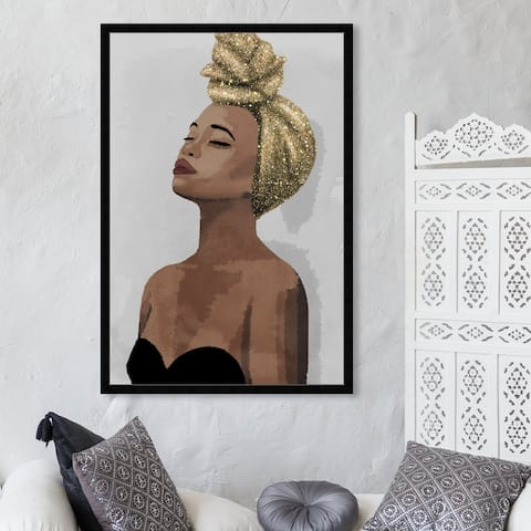 Oliver Gal 'Golden Spirit' Fashion and Glam Framed Wall Art Prints Portraits - Brown, Gold