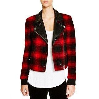 Paige Womens Bomber Jacket Wool Faux Leather Trim