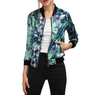 Allegra K Women Stand Collar Zip Up Floral Prints Bomber Jacket