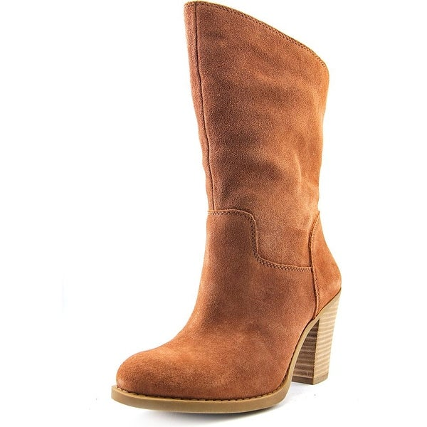 Lucky Brand Embrleigh Women Round Toe Suede Brown Mid Calf Boot